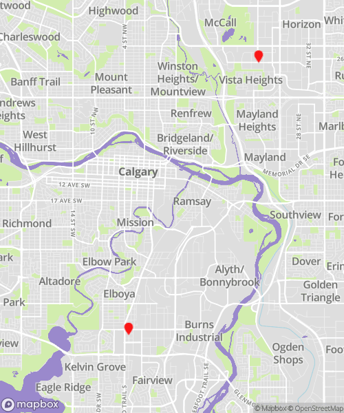 Calgary Locations Map for CBL Data Recovery Drop-off Service