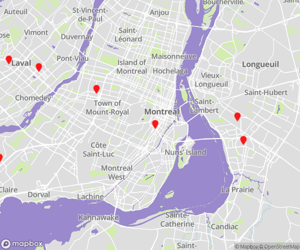 Montreal MicroAge Locations Map for CBL Data Recovery Drop-off Services
