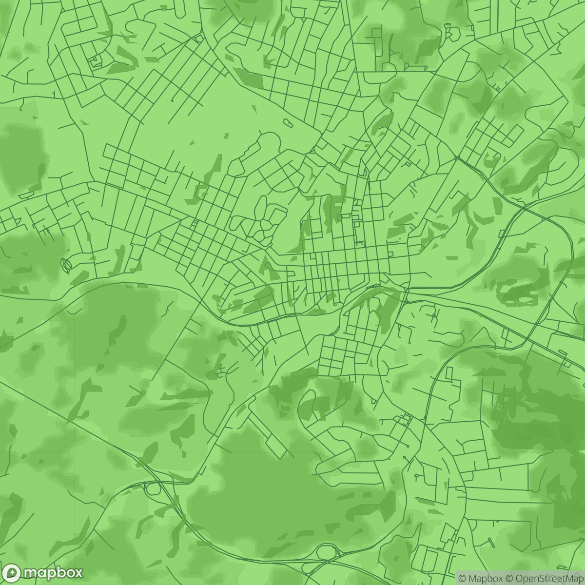 A closer view of the Staunton, VA Mapbox map