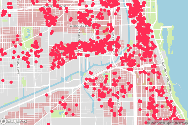 HOLC Residential Security Map (1939) 'Class D Areas' and Locations of Airbnb rentals, January 2017, Chicago