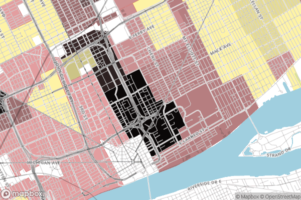 Borderline Detroit: HOLC Residential Security Map (1940) 'Class D Areas' with '% Negro' values from Area Descriptions