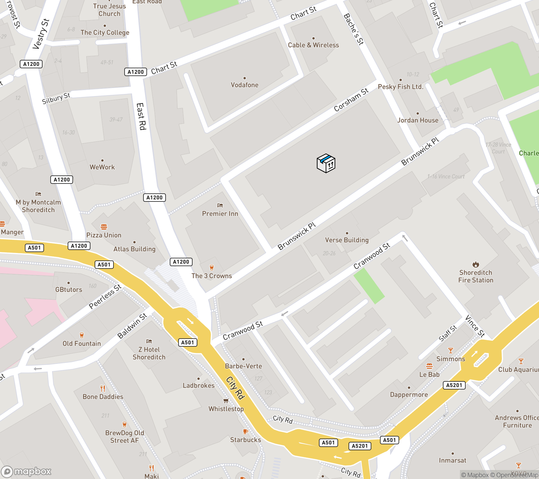 Map of Codebox, 41 Corsham St, London N1 6DR