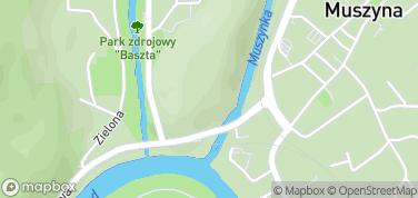 Ruiny zamku w Muszynie – mapa