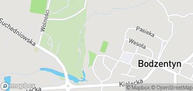 Ruiny zamku w Bodzentynie – mapa