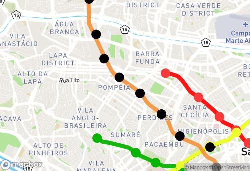 Mapa Metrô Atual e Planejado. São Paulo-SP