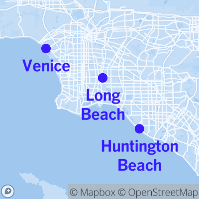 map of Los Angeles showing points of Venice, Long Beach, and Huntington Beach
