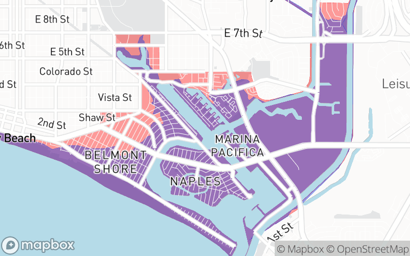 Image shows that the Belmont Shores area of Long Beach is included in the new 2021 tsunami evacuation maps.
