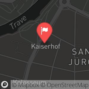Landkarte/Stadtplan für: Silvester Gala 2013/2014 im Hotel Kaiserhof Lübeck | Kronsforder Allee 11-13, 23560 Lübeck