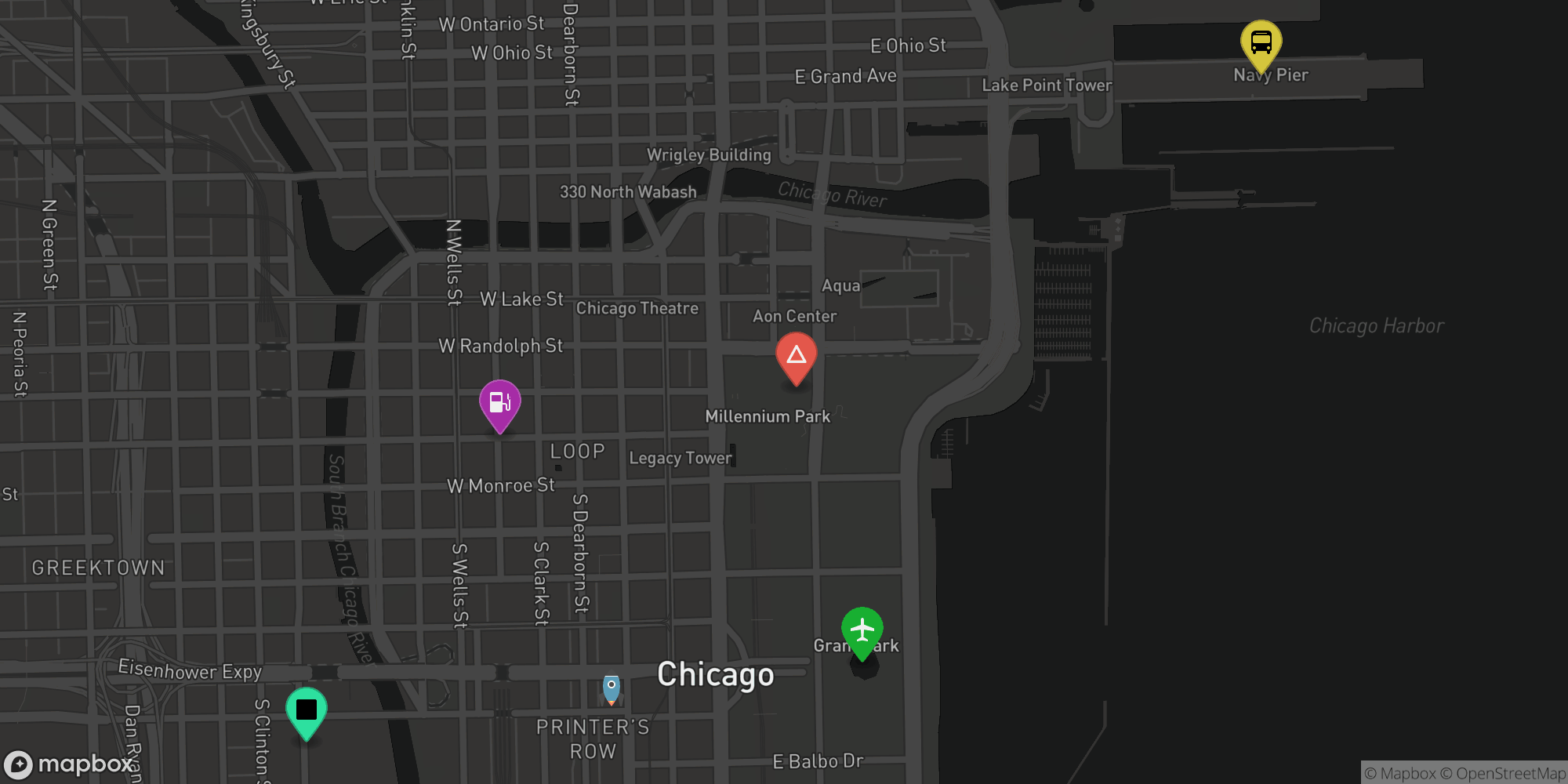 Mapbox Static API with overlays showing marker with Maki icons