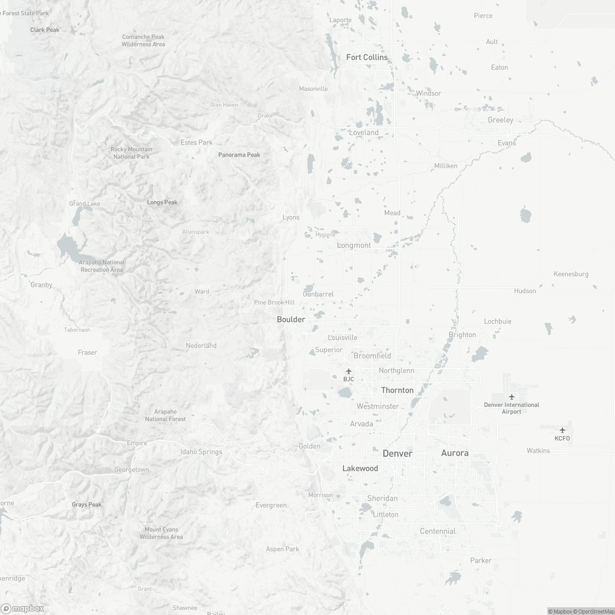 Map of Boulder Municipal Airport BDU surrounding area of Boulder Colorado