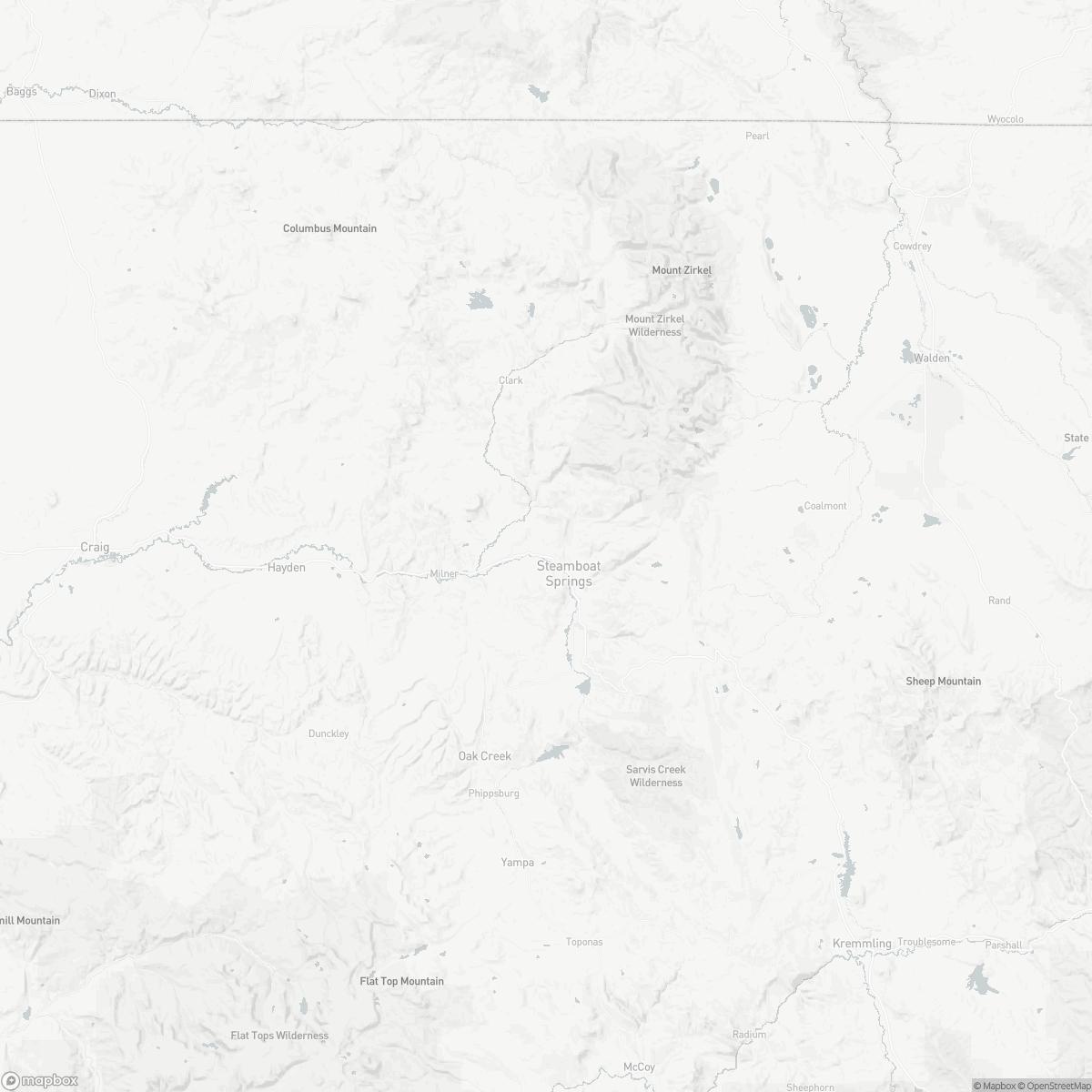 Map of Steamboat Springs Bob Adams Field SBS surrounding area of Steamboat Springs Colorado