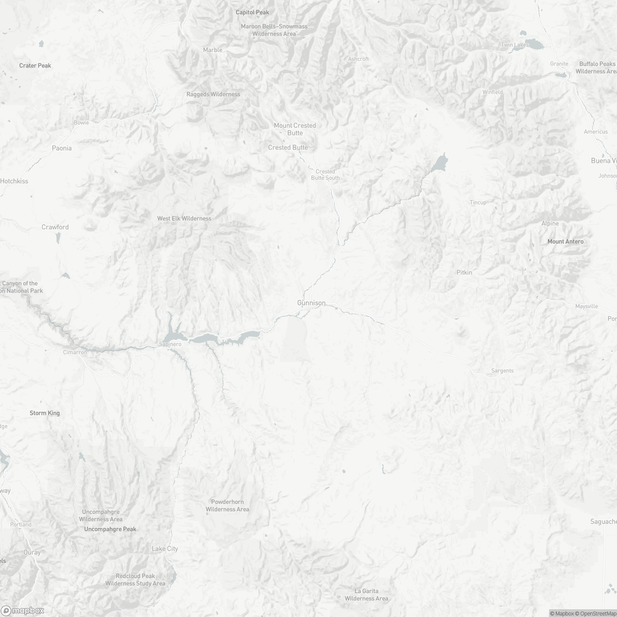 Map of Gunnison Crested Butte Regional Airport GUC surrounding area of Gunnison Colorado