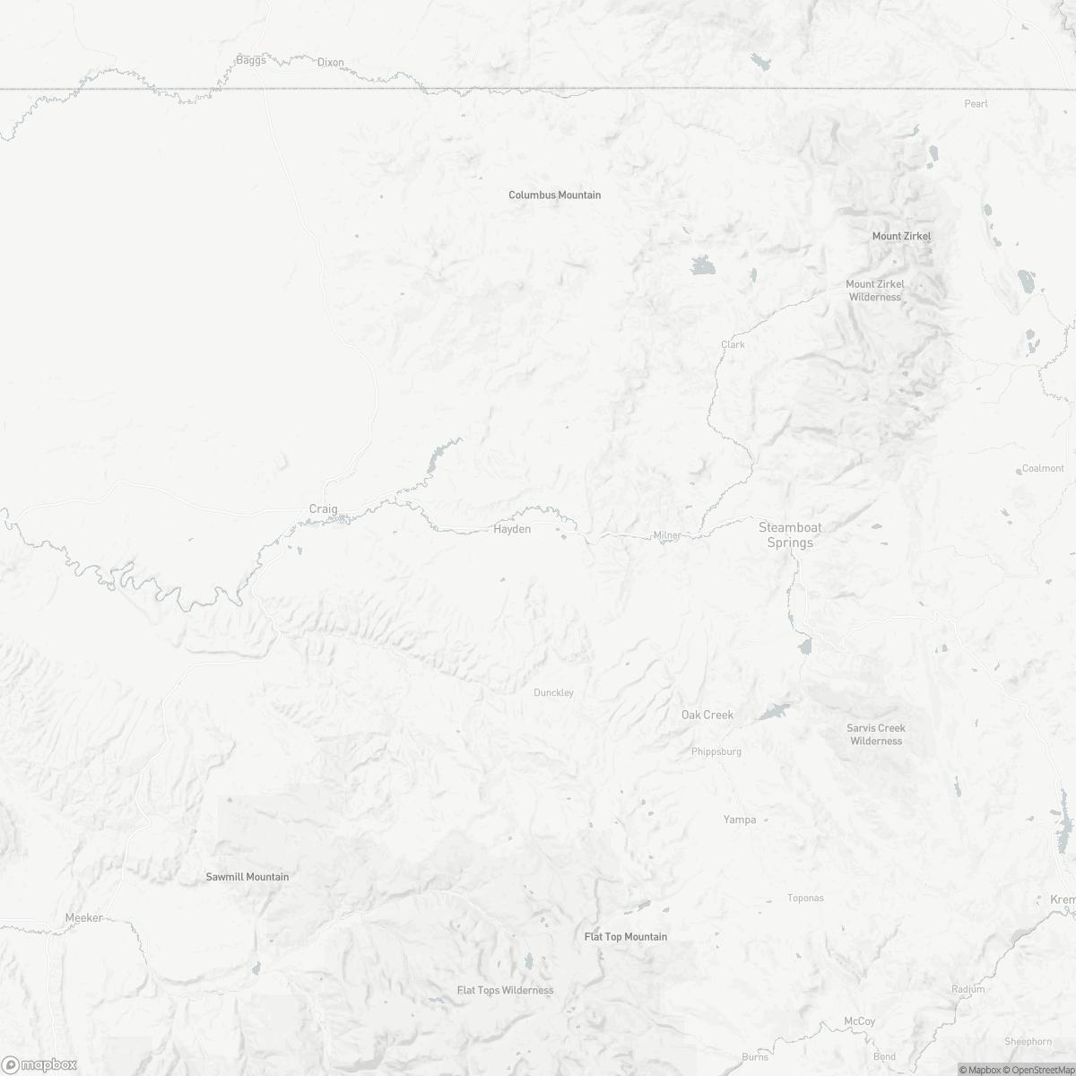 Map of Yampa Valley Airport HDN surrounding area of Hayden Colorado