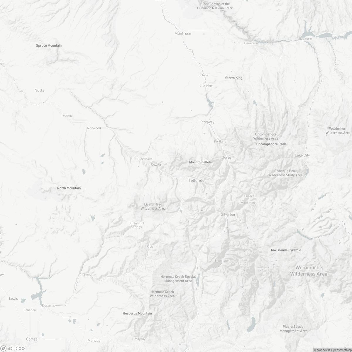 Map of Telluride Regional Airport TEX surrounding area of Telluride Colorado