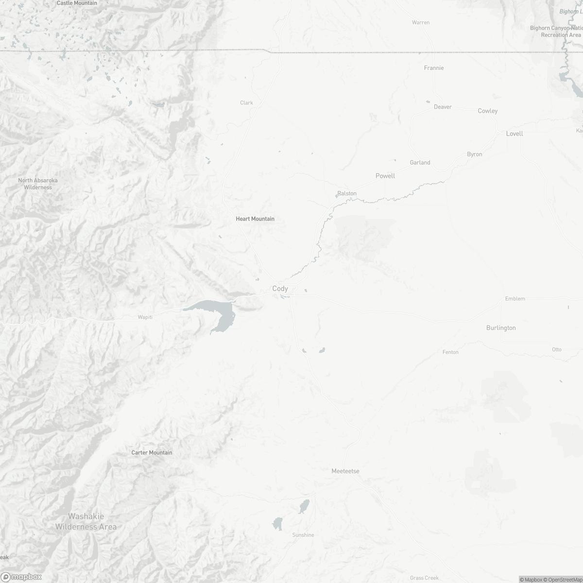 Map of Yellowstone Regional Airport COD surrounding area of Cody Wyoming