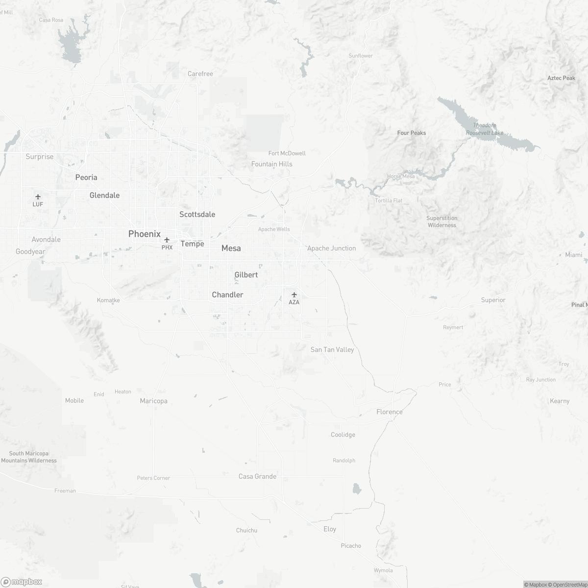 Map of Phoenix-Mesa Gateway Airport IWA surrounding area of Phoenix Arizona
