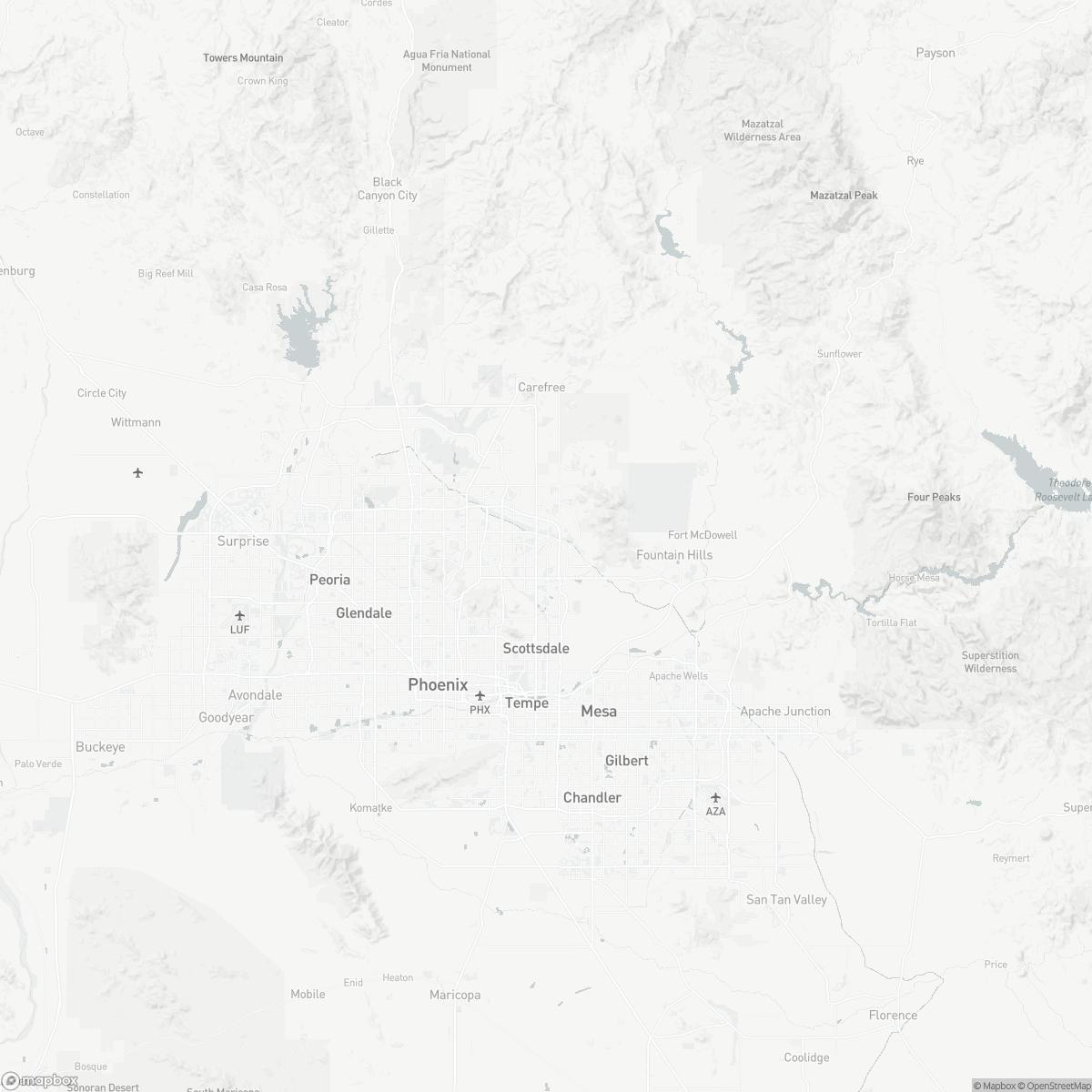 Map of Scottsdale Airport SDL surrounding area of Scottsdale Arizona