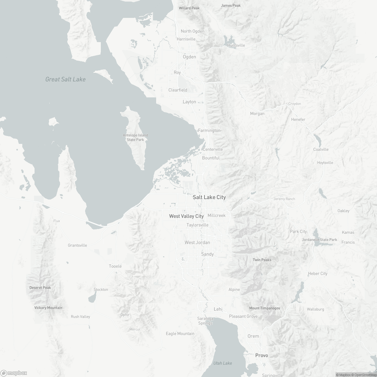 Map of Salt Lake City Int. SLC surrounding area of Salt Lake City Utah