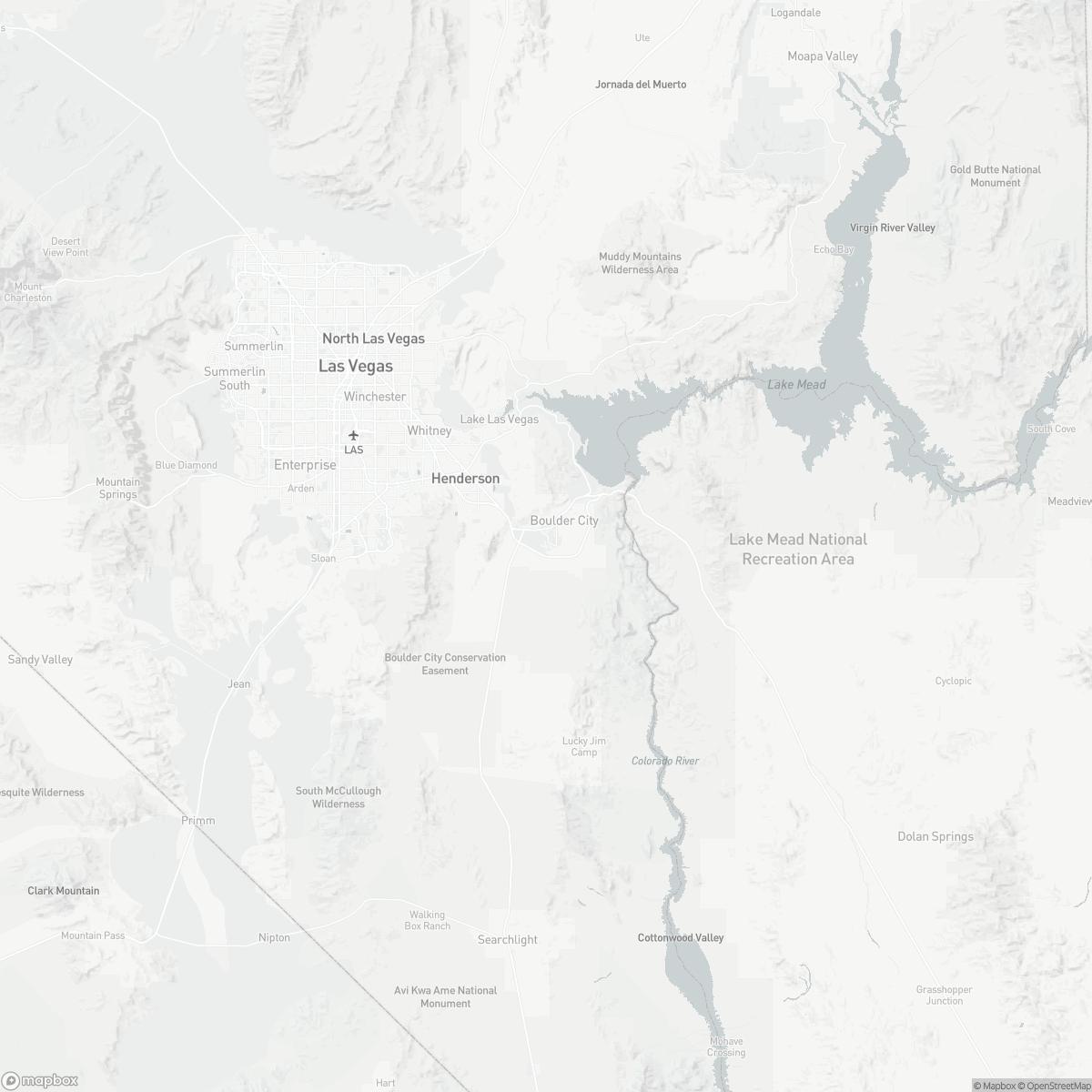 Map of Boulder City Municipal Airport BVU surrounding area of Boulder City Nevada