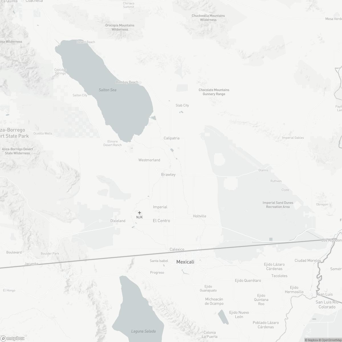 Map of Brawley Municipal Airport BWC surrounding area of Brawley California