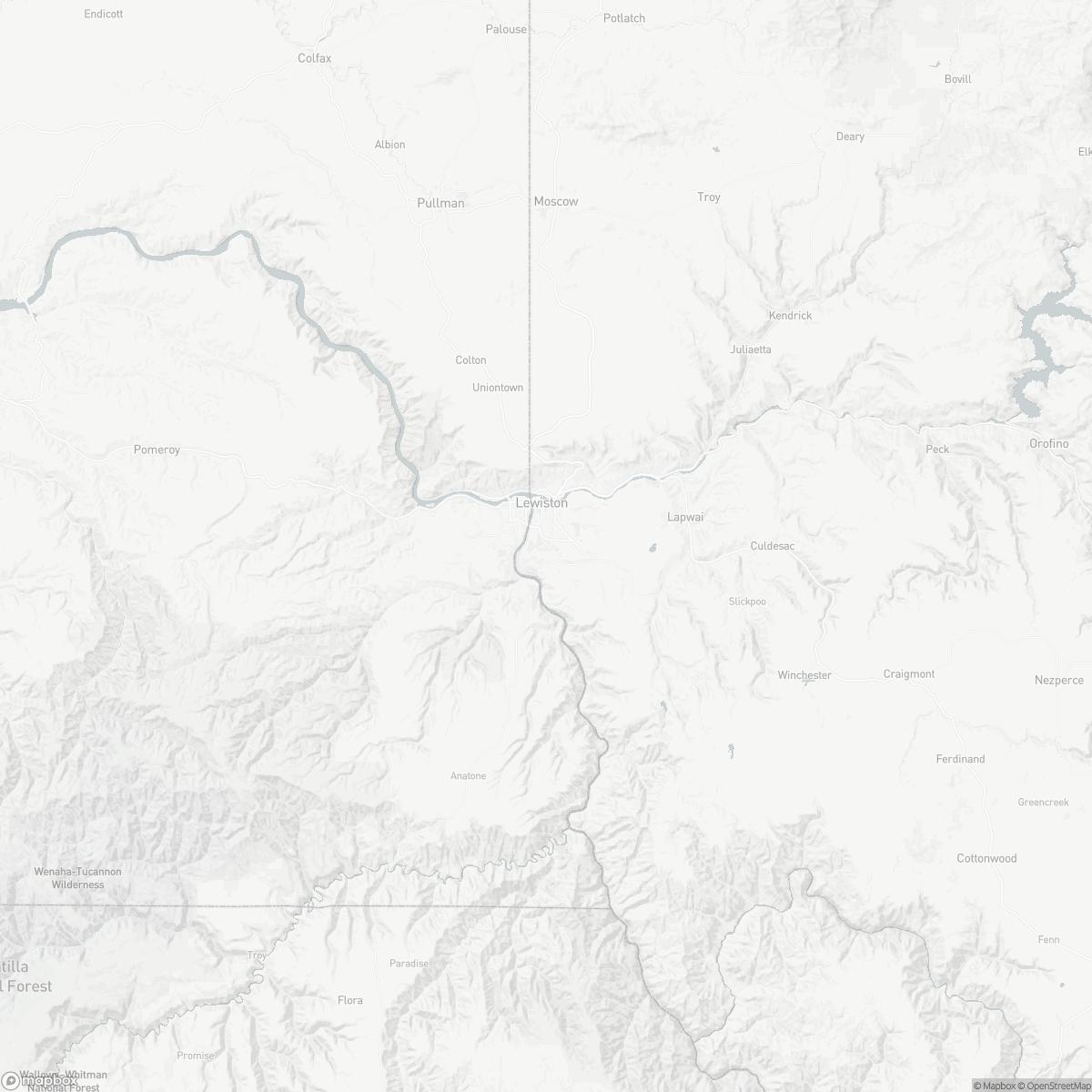 Map of Lewiston Nez Perce County Airport LWS surrounding area of Lewiston Idaho