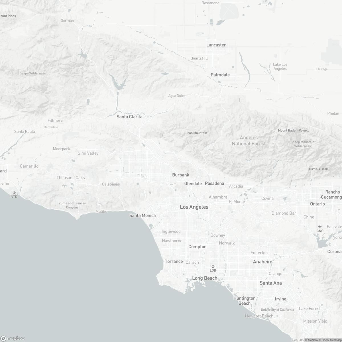 Map of Burbank Airport BUR surrounding area of Burbank California