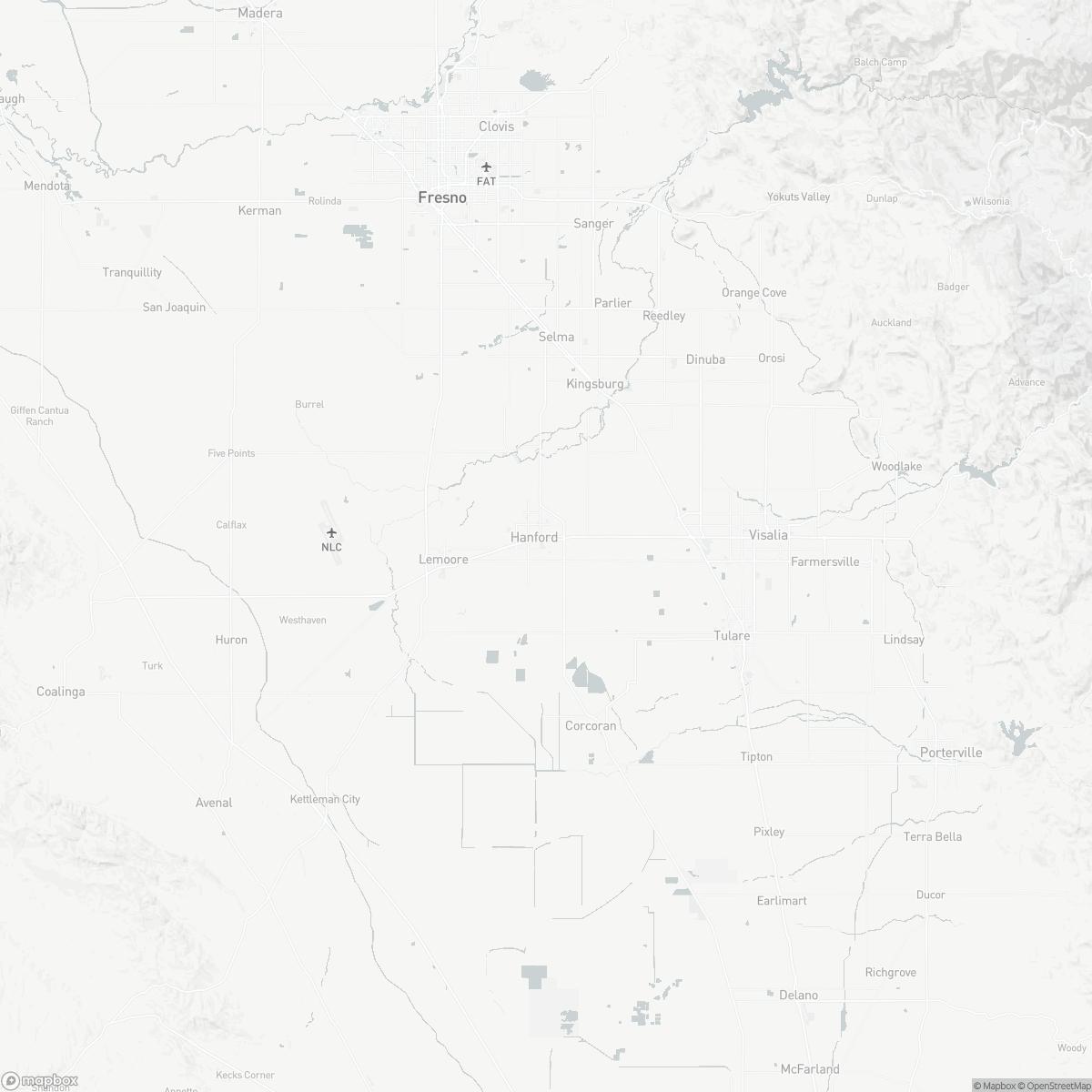 Map of Hanford Municipal Airport HJO surrounding area of Hanford California
