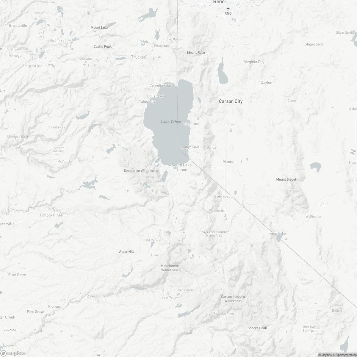 Map of South Lake Tahoe Airport TVL surrounding area of South Lake Tahoe California