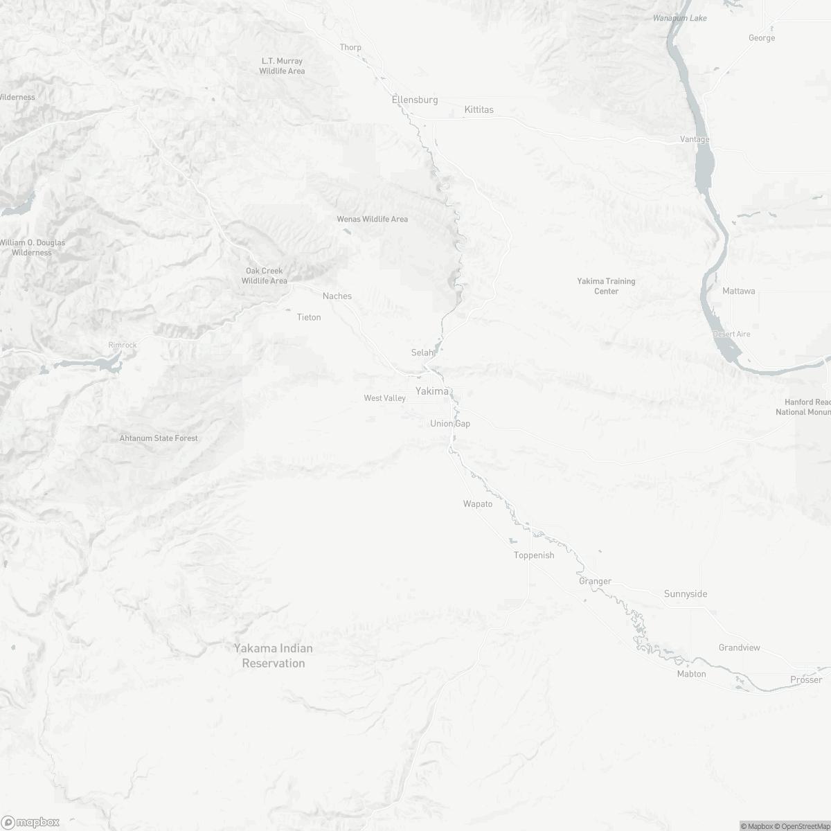 Map of Yakima Air Terminal YKM surrounding area of Yakima Washington