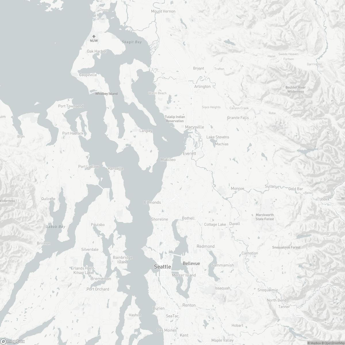 Map of Paine Field Airport PAE surrounding area of Everett Washington