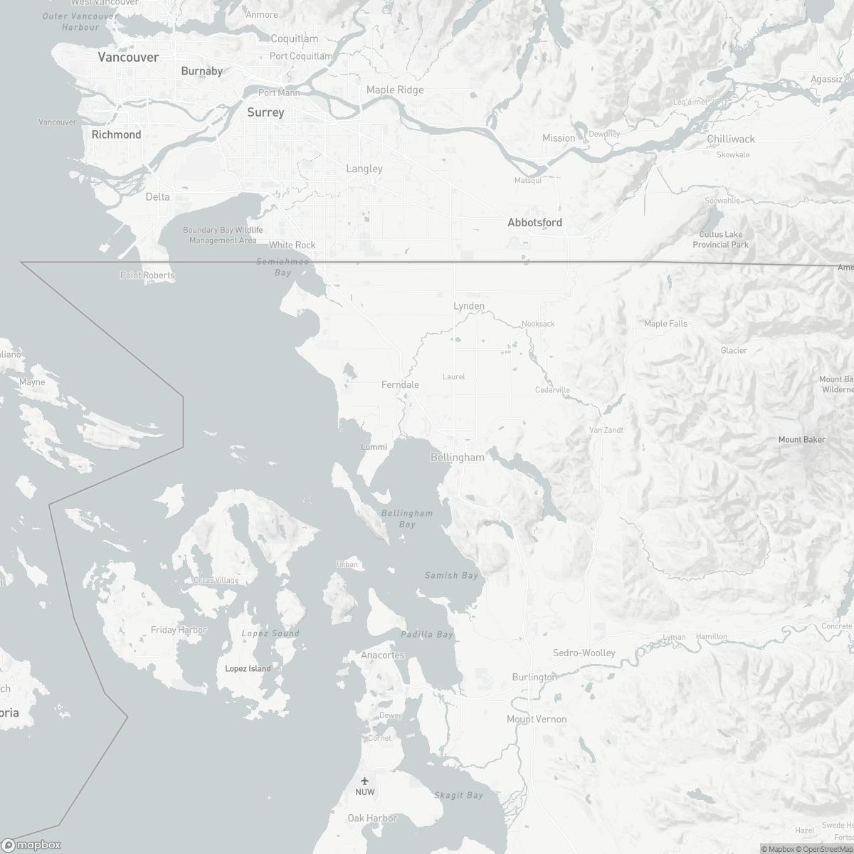 Map of Bellingham International Airport BLI surrounding area of Bellingham Washington