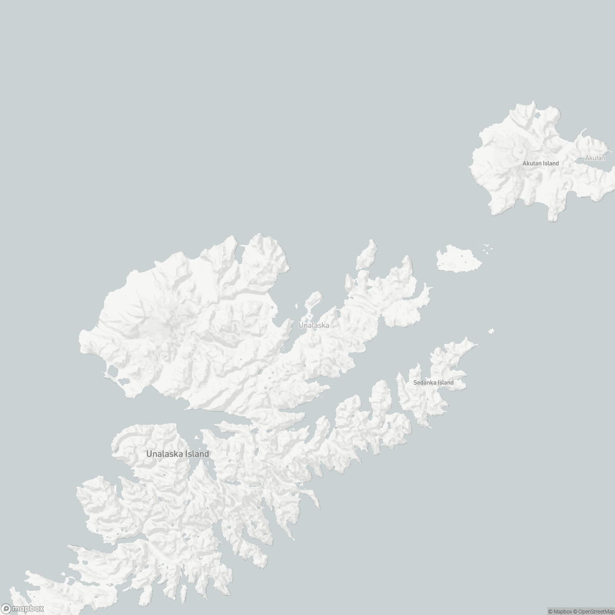 Map of Tom Madsen Airport DUT surrounding area of Unalaska Alaska