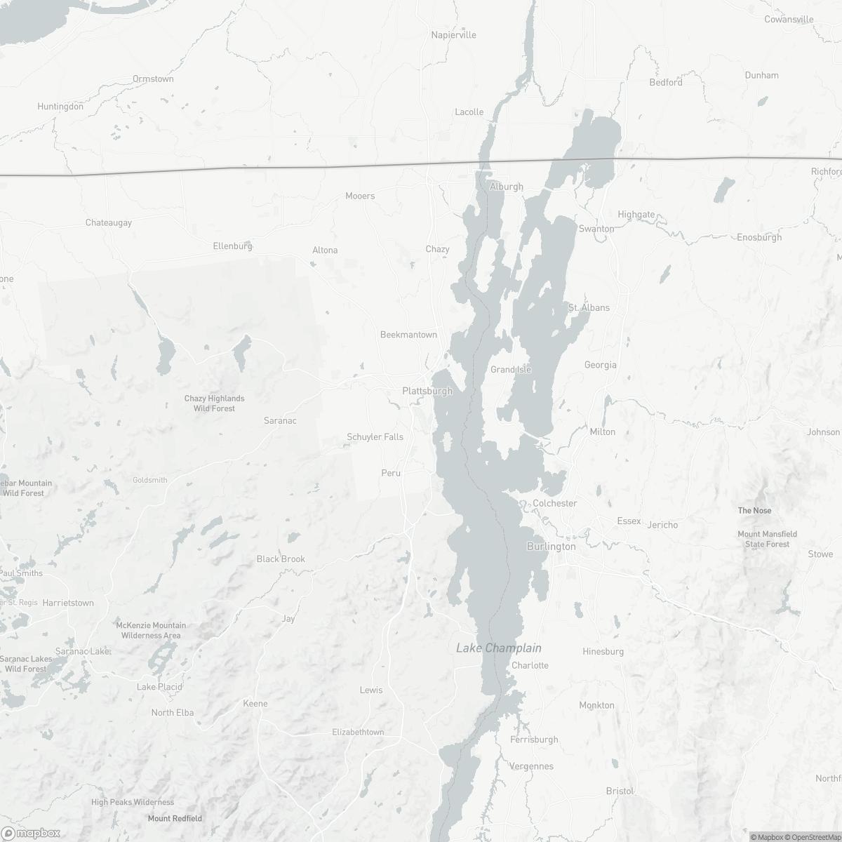 Map of Plattsburgh International Airport PBG surrounding area of Plattsburgh New York