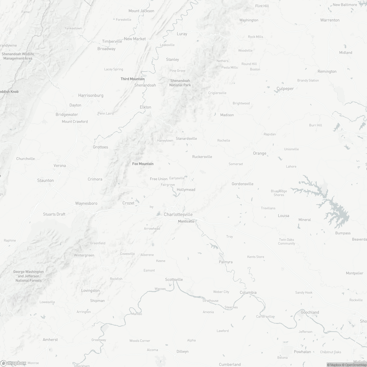 Map of Charlottesville-Albemarle Airport CHO surrounding area of Charlottesville Virginia