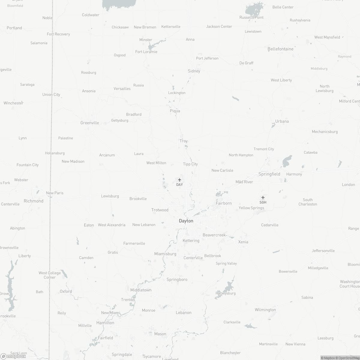 Map of Dayton International Airport DAY surrounding area of Dayton Ohio