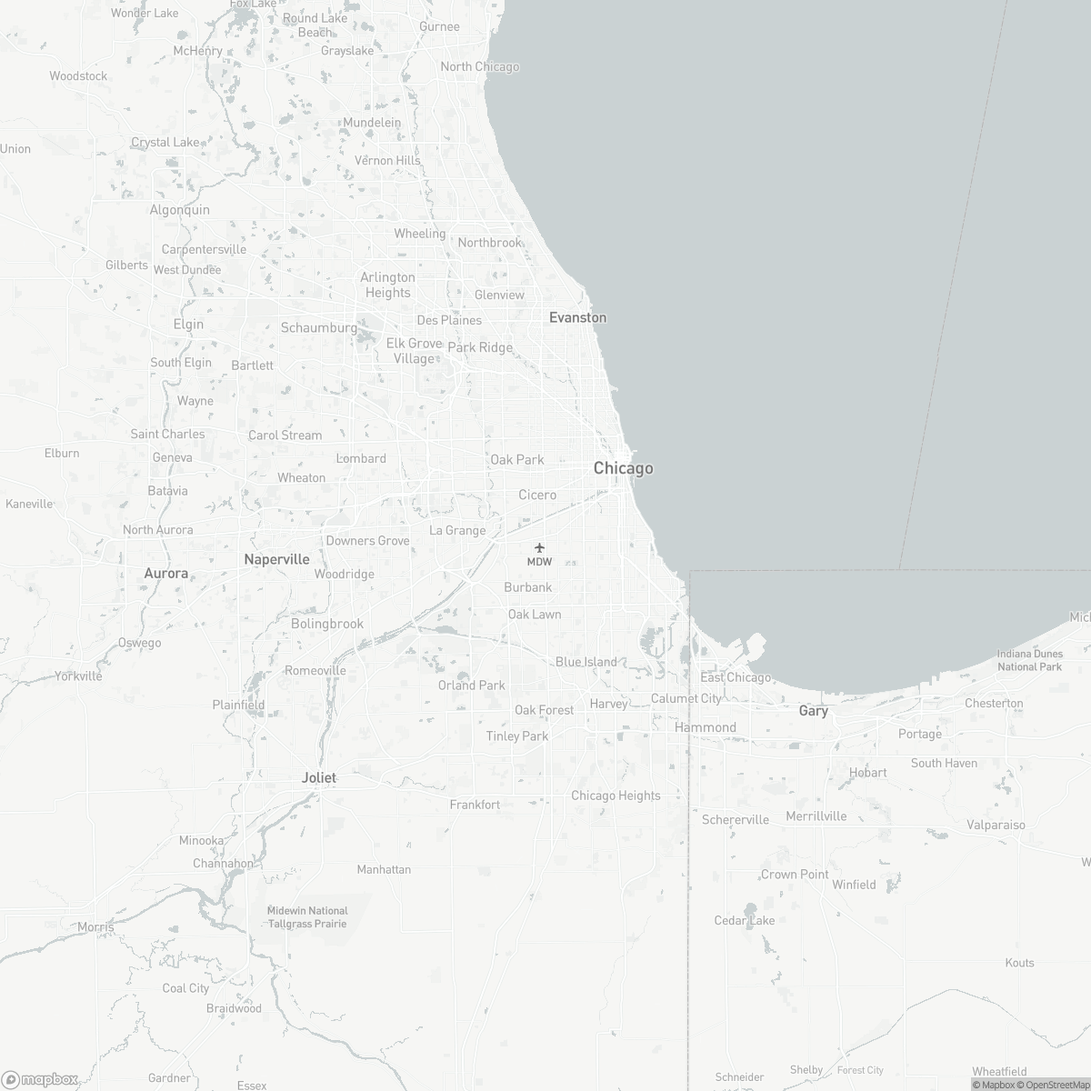 Map of Chicago Midway Airport MDW surrounding area of Chicago Illinois