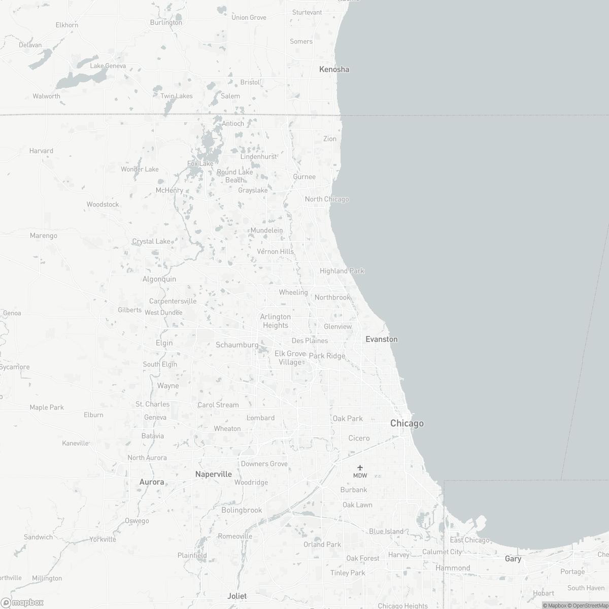 Map of Chicago Executive Airport PWK surrounding area of Wheeling Illinois