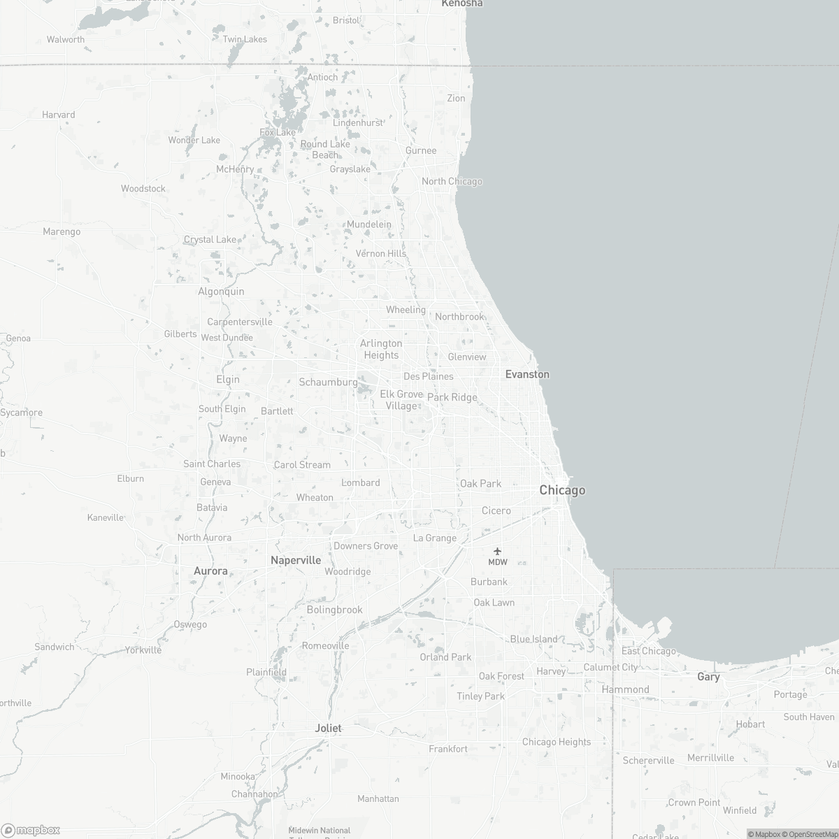 Map of Chicago O'Hare Int. ORD surrounding area of Chicago Illinois