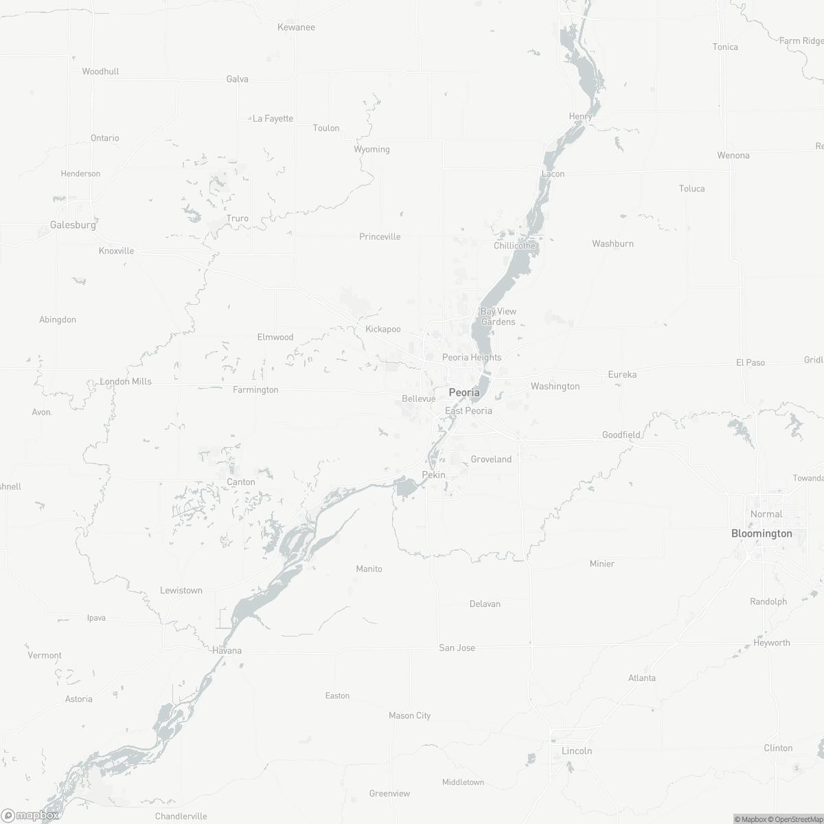 Map of Peoria International Airport PIA surrounding area of Peoria Illinois