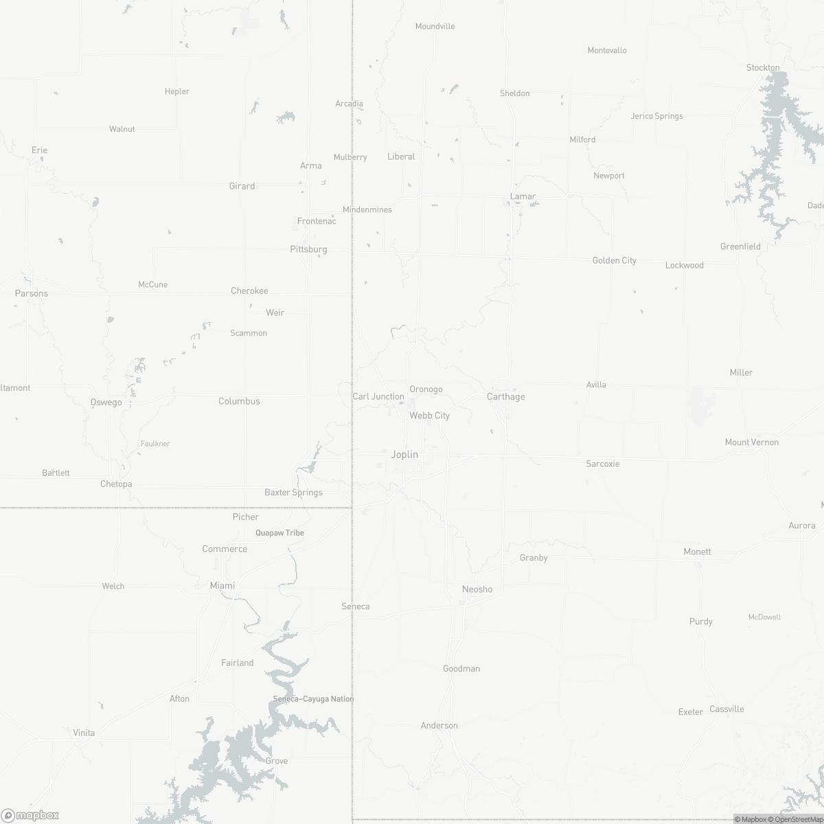 Map of Joplin Regional Airport JLN surrounding area of Joplin Missouri