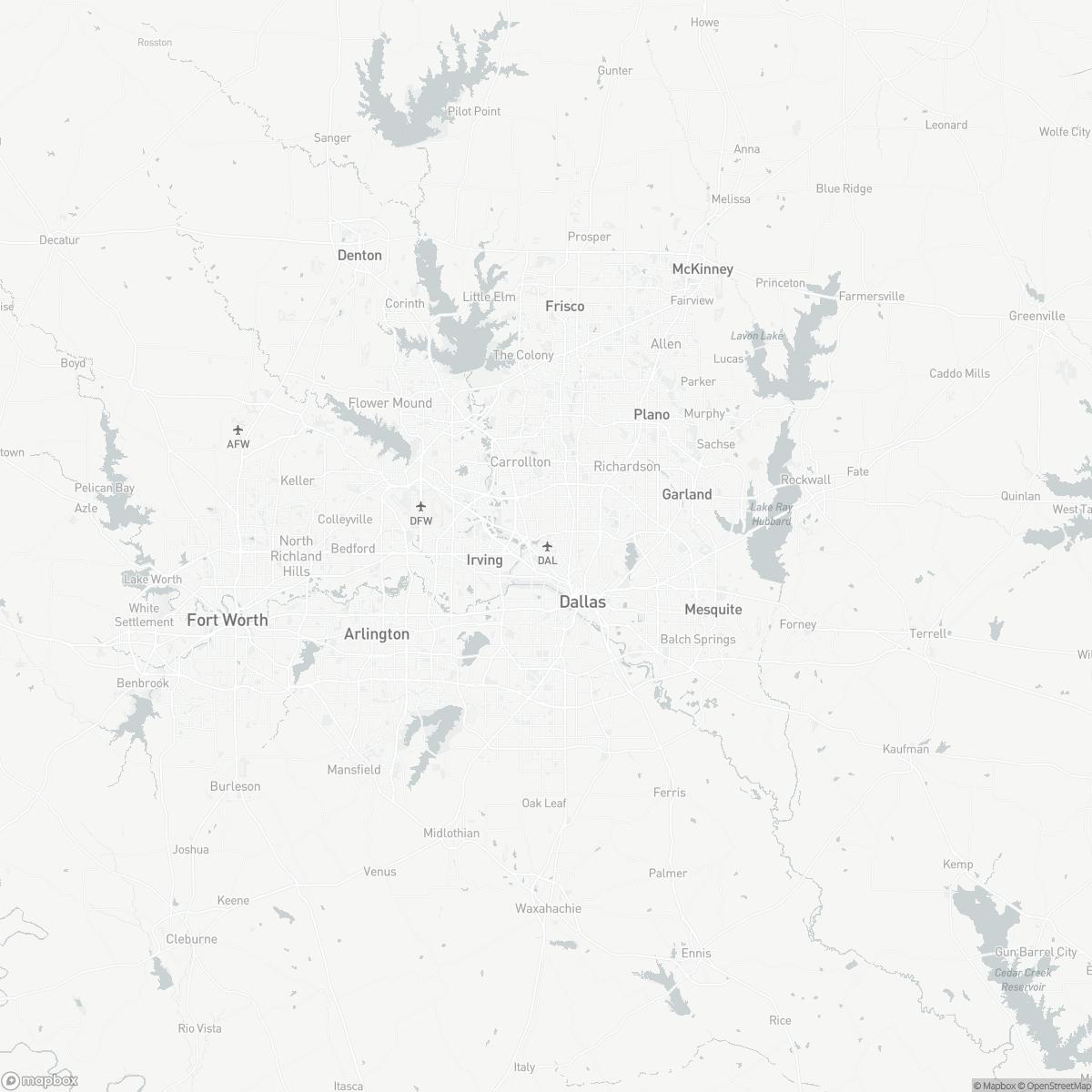 Map of Dallas Love Field DAL surrounding area of Dallas Texas