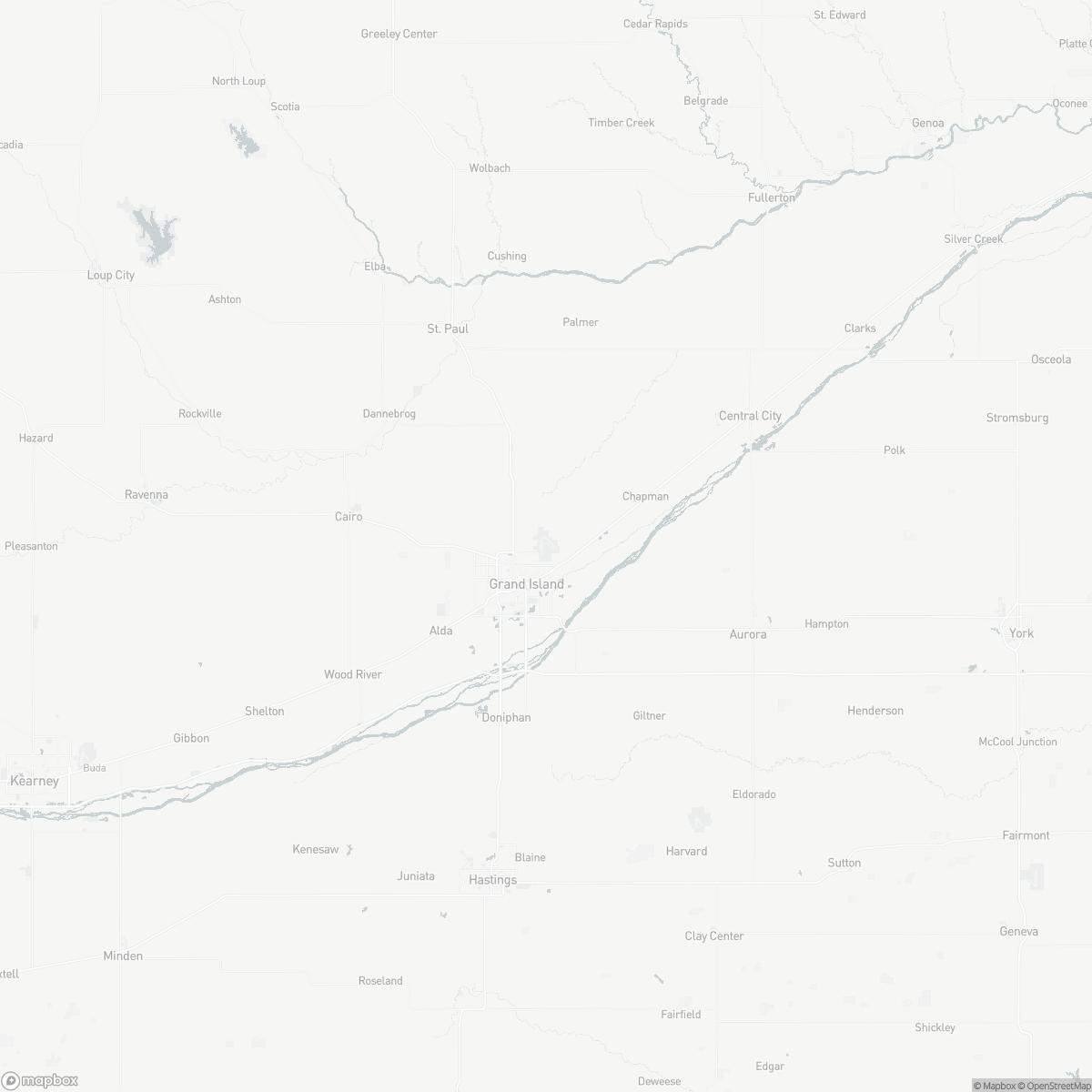 Map of Central Nebraska Regional Airport GRI surrounding area of Grand Island Nebraska