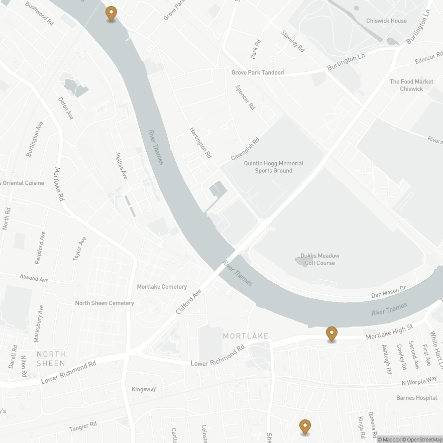 Map of John Dee's house in Mortlake, Englandand 2 other places