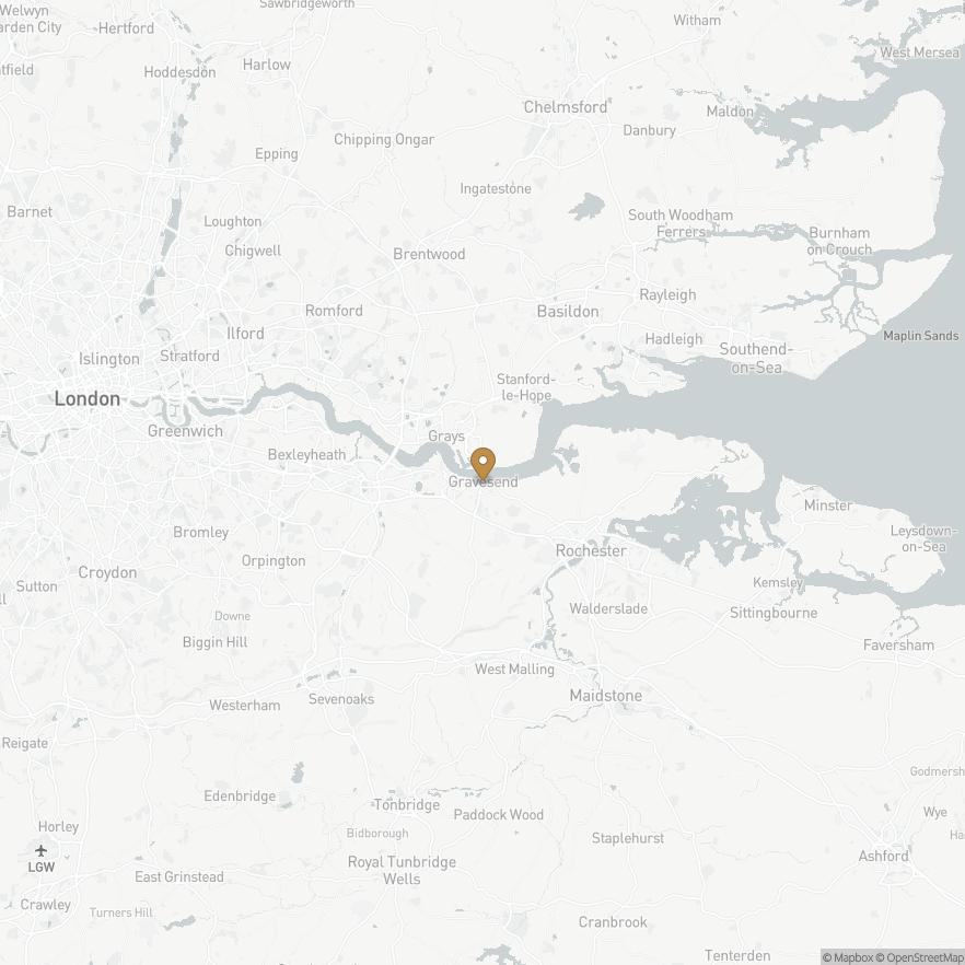 Map of Gravesend, England