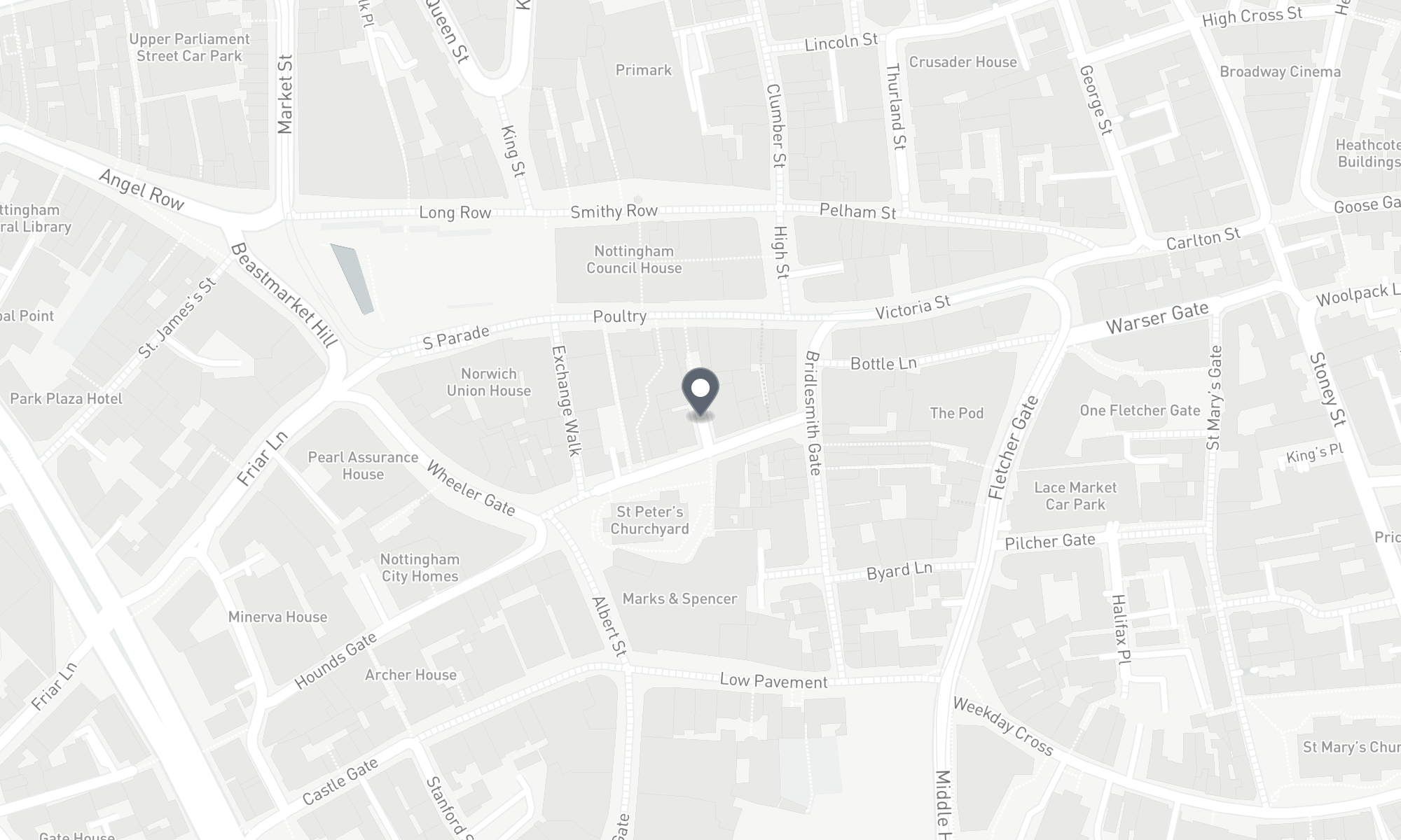 static Mapbox map of the Nottingham CPMG office
