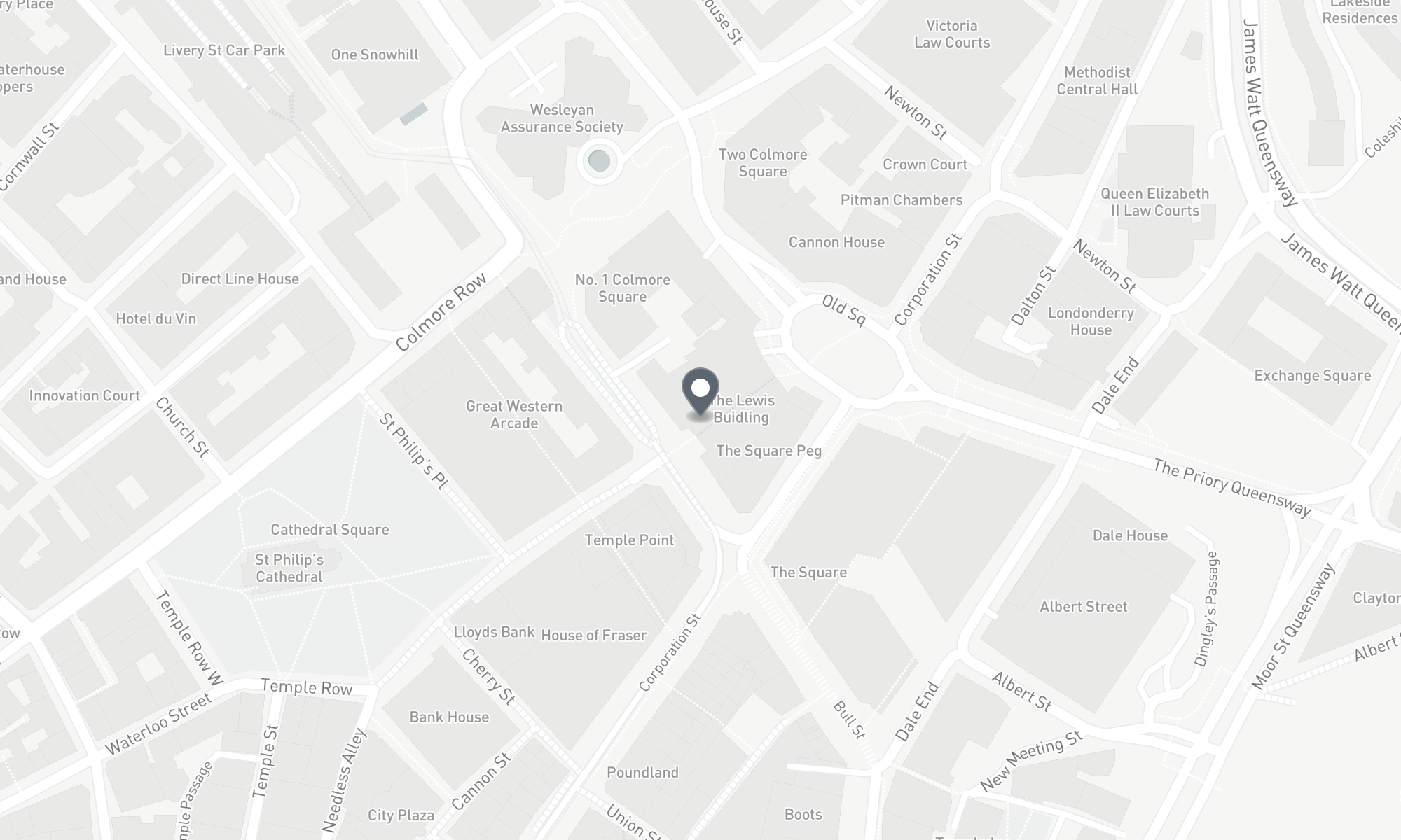 static Mapbox map of the Birmingham CPMG office