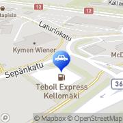 Kartta Teboil Express-automaattiasema Kouvola, Suomi