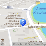 Karte Zahnarztpraxis Uwe Irrgang Freiberg, Deutschland