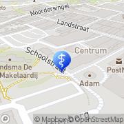 Kaart Podotherapie Stad & Ommeland locatie Gezondheidsplein Molenberg Delfzijl, Nederland
