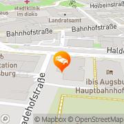 Karte Ibis Hotel Augsburg beim Hauptbahnhof Augsburg, Deutschland